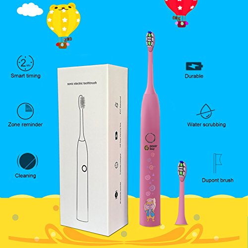 Sonic Toothbrush for Kids Geekerbuy Electric Toothbrush Rechargeable 100 Days Use IPX7 Waterproof Toothbrush with 2 Replacement Heads (Pink) by Geekerbuy (Image #1)
