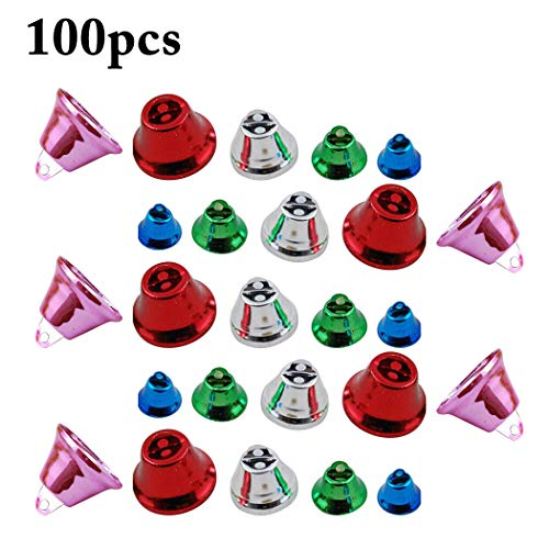 Outgeek 100PCS Christmas Bell Assorted Creative Decorative Bell Craft Bell Jingle Bell