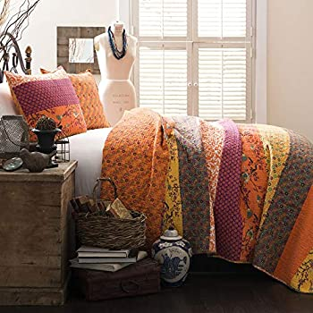 Lush Decor Royal Empire Quilt Striped Pattern Reversible 3 Piece Bedding Set, King, Tangerine