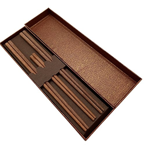 Udyr Luxury Reusable Natural Red Sandal Wood Chopsticks Without Paint, Wax and Oil Classic Chinese Style with Gift Box 3 Pairs(1 for kids, 2 for adults)