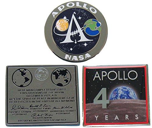 Apollo Pin Trio Program Logo 40 Year Anniversary Moon Plaque Official NASA