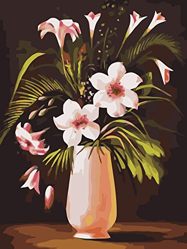 Wowdecor Paint by Numbers Kits for Adults Kids, Number Painting - Pink Lily Flowers 16x20 inch (Frameless)
