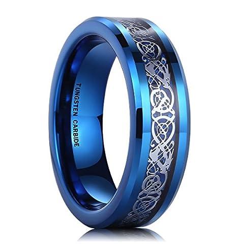 6mm Tungsten Carbide Ring Blue Carbon Fiber Silver Celtic Dragon Inlay Wedding Band for Men Women(10)
