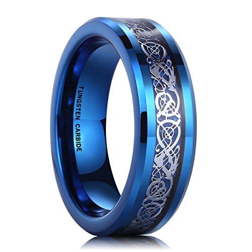 6mm Tungsten Carbide Ring Blue Carbon Fiber Silver Celtic Dragon Inlay Wedding Band for Men Women(6) Dragon Inlay