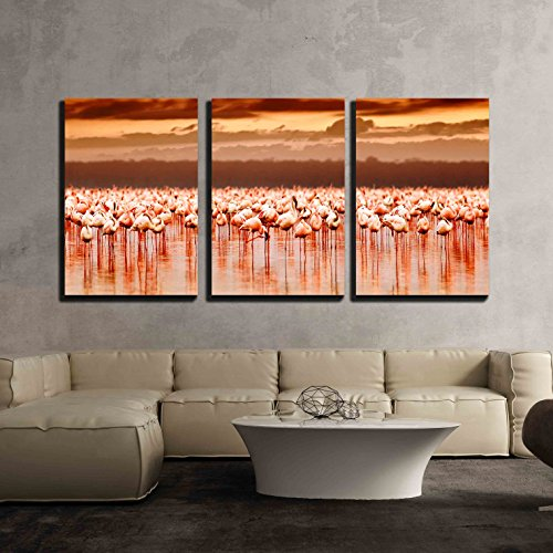 African Safari Wall Art (wall26 - 3 Piece Canvas Wall Art - African Flamingos in the Lake over Beautiful Sunset, Flock of Exotic Birds - Modern Home Decor Stretched and Framed Ready to Hang - 24