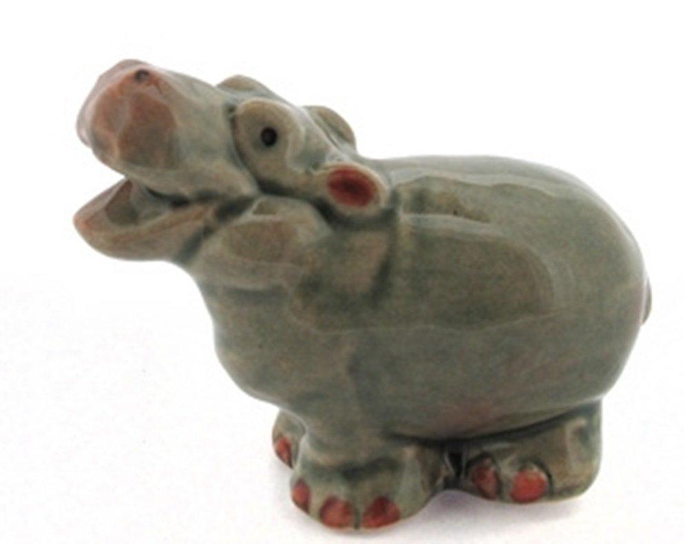 Dollhouse Miniatures Ceramic Hippo 3 FIGURINE Animals Decor by ChangThai Design