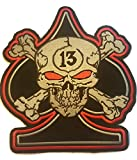 Cool Large Patch BIG Applique Skull Crossbones 13th BLACK ACE SPADE Embroidered Iron Sew on Biker Trucker Motocycle Jacket Cap Bag