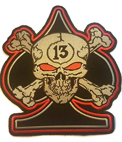 Cool Large Patch BIG Applique Skull Crossbones 13th BLACK ACE SPADE Embroidered Iron Sew on Biker Trucker Motocycle Jacket Cap Bag by Indy Patch