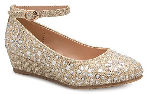 OLIVIA K Girl's Low Wedge Heel Ankle Strap Sparkly Rhinestone Shoes (Toddler/Little Girl)]()