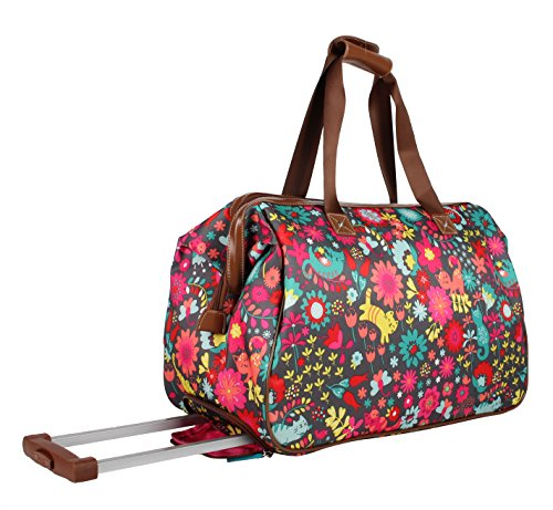 Lily Bloom Luggage Designer Pattern Suitcase Wheeled Duffel Carry On Bag (14in, Playful Garden) by Lily Bloom (Image #2)