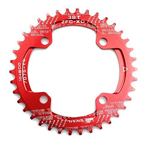 CYSKY Narrow Wide Chainring 104BCD 38T 4 Bolts Bike Single Chainring for 9 10 11 Speed, Perfect for Most Bicycle Road Bike Mountain Bike BMX MTB Fixie Track Fixed-Gear Bicycle (Round, Red)