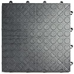 GarageDeck Coin Pattern, Durable Interlocking Modular Garage Flooring Tile (24 Pack), Graphite