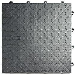 GarageDeck Coin Pattern, Durable Interlocking Modular Garage Flooring Tile (24 Pack), Graphite