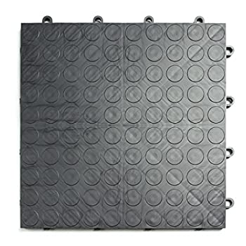 Image of GarageDeck Coin Pattern, Durable Interlocking Modular Garage Flooring Tile (48 Pack), Graphite