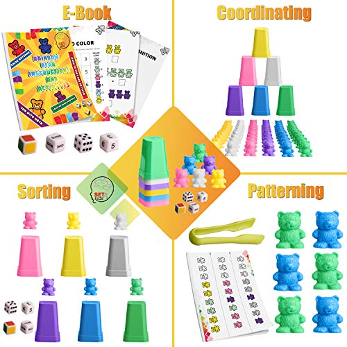 SET4kids Counting Bears with Matching/Sorting Cups, 4 Dice ,Tweezers and an Activity e-Book. for Toddlers and Early Childhood Education. 71 pc Game Set in Pastel Colors. -