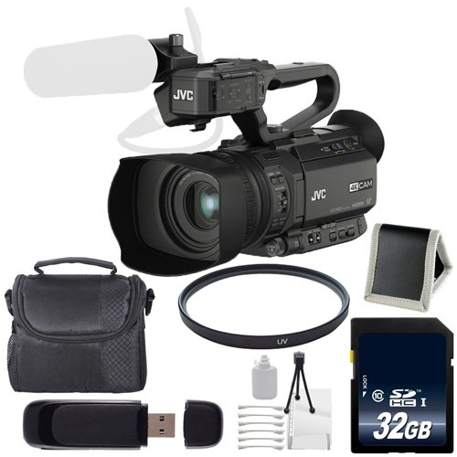 JVC GY-HM200 GYHM200 4KCAM Compact Handheld Camcorder (International Model) + 32GB SDHC Class 10 Memory Card + Carrying Case + 62mm UV Filter + SD Card USB Reader + Kit 6AVE Bundle