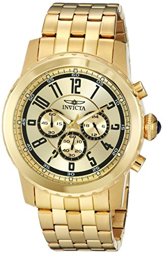 (Invicta Men's 19465 Specialty 18k Gold Ion-Plated Watch)