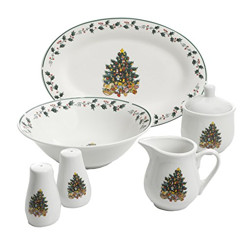Gibson Home 99826.07R Christmas Tree Trimming, 7 PC Serving Set, Holiday ()