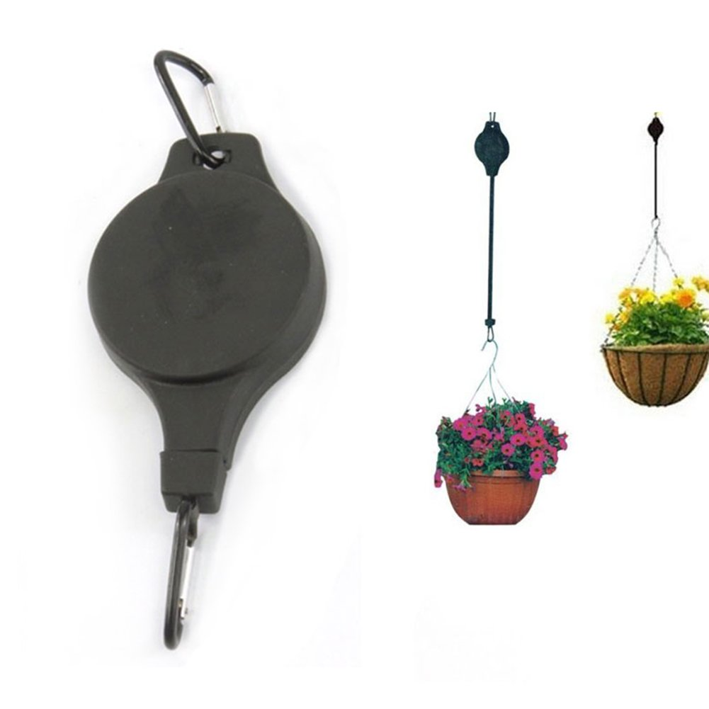 Pack of 2 Hanging Flower Basket Hook Hanger Plant Pot Telescopic Hooks Holder for Baskets Pots and Birds Feeder Lembeauty