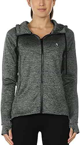 c905320b064 icyzone Workout Track Jackets Women - Athletic Exercise Running Zip-Up  Hoodie Thumb Holes