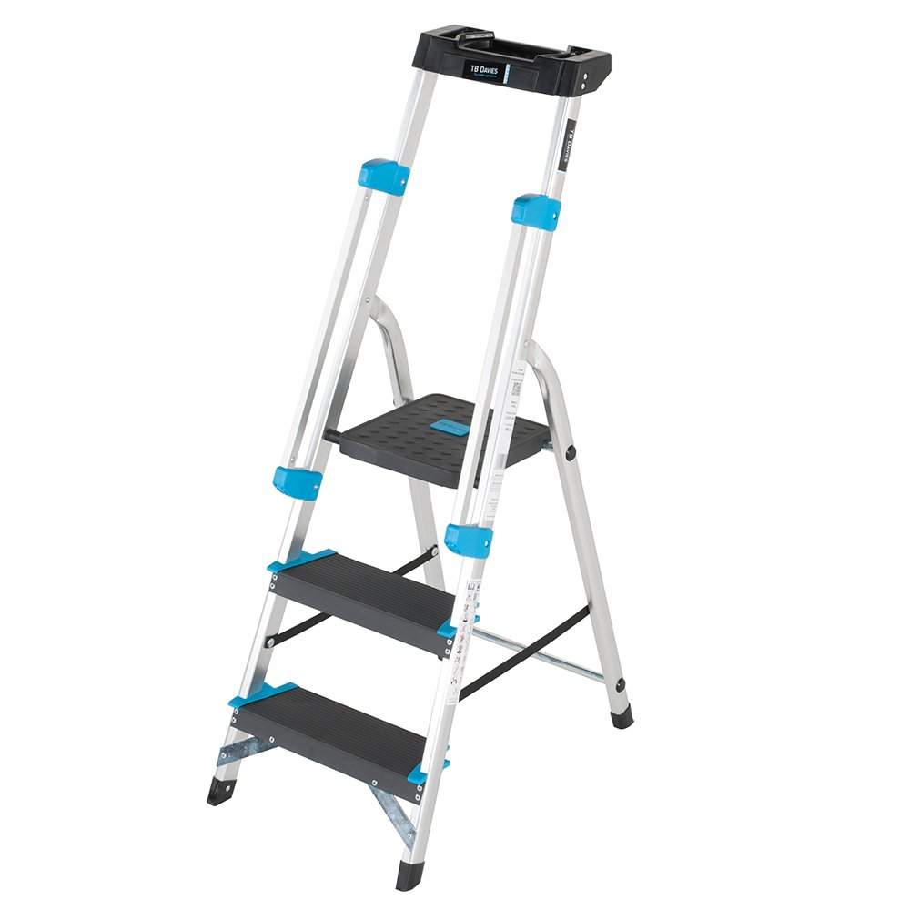 TB Davies 1203-003  Trade Professional 3-Tread Aluminium Step Ladders - Fitted with Twin Safety Handrails. EN131 Tool tray holds tools ABRA4
