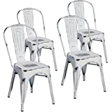 Merax Indoor Outdoor Use Tolix Style Distressed Metal Bistro A Dining Side Chair Stackable Highback Chic Cafe Side Chair Set Of 4 Antique White