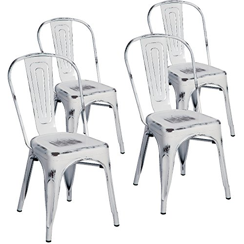 Merax Indoor-Outdoor Use Tolix Style Distressed Metal Bistro A Dining Side Chair Stackable Highback Chic Cafe Side Chair, Set of 4, (Antique White) - Distressed Dining Room Furniture