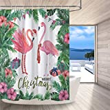 Shower Curtains with Pink in Them LB Merry Christmas Flamingo Shower Curtain,Pink Flamingos with Christmas Hat Scarf Stocking Funny Christmas Shower Curtains for Kids,Waterproof Mildew Resistant Fabric 72x72 Inch