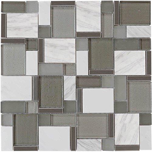 MTO0002   Modern Mosaic White Gray Metallic Glossy Matte Polished Glass Stone Tile