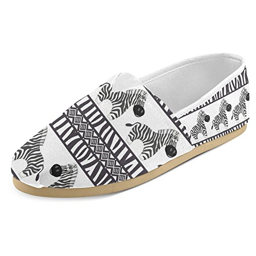 InterestPrint Women's Loafers Classic Casual Canvas Slip On Fashion Shoes Sneakers Flats Size 10 African Seamless Patterns With Cute Zebra and Zebra (Zebra Shoes)