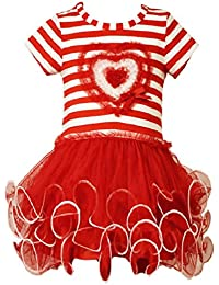 Little Girls Stripe Heart Tutu Valentine Day Dress