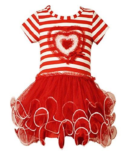Bonnie Jean Little Girls Stripe Heart Tutu Valentine Day Dress (6X, -