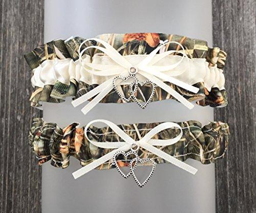 Camouflage Ivory Satin Wedding Camo Bridal Garter SET - Double Heart -