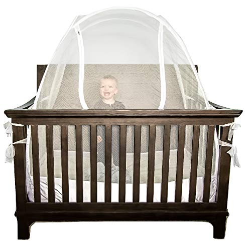 Lullaby Baby Crib Safety Tent CPSC Certified Pop Up See Through Mesh Nursery Mosquito Net Complete with Extra Fitted Crib Sheet