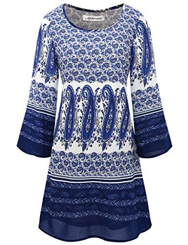 Aphratti Women's Bohemian Loose Fit Casual Printed Tunic Chiffon Dress Blue X-Large