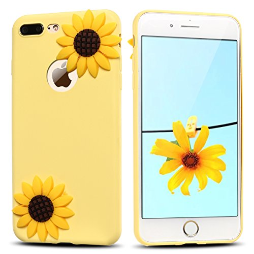 Funda iPhone 7 Plus, Carcasa iPhone 8 Plus, Suave Gel Silicona 3D Goma Mate Opaco Cover para Apple iPhone 7 Plus / 8 Plus (5.5 Pulgadas) E-lush Ultra delgado Blanda TPU Tapa Caja Flexible Ligero Prote Girasol Amarillo
