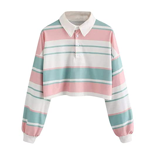eef233338f2 GREFER Hot Sale Womens Casual Blouse Drop Shoulder Striped Crop Pullover  Sweatshirt Tops at Amazon Women s Clothing store