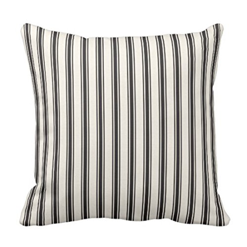 Emvency Throw Pillow Cover Classic Ticking Stripe Pattern Black and Cream Decorative Pillow Case Striped Home Decor Square 20 x 20 Inch Cushion Pillowcase (Ticking Cream)