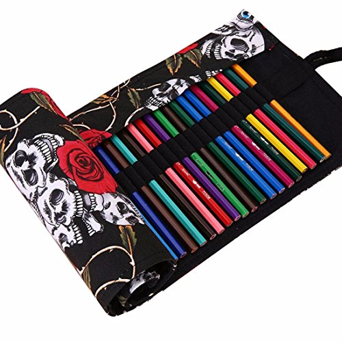 Oksale® Handmade Canvas 36 Holes Roll Pencil Case Office Stationery Writting Pen Bag (Skull (Makeup In The 80s)