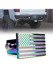 [Upgrade] Capa de engate de reboque de alumínio Xprite, capa de plugue de receptores traseiros de reboque de 5 cm, proteção de emblema de metal da bandeira americana dos EUA para caminhões, carros, SUV – Neo