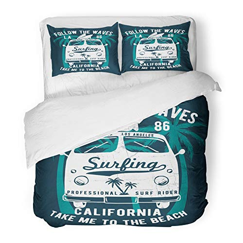 Giant Script Tee - Emvency 3 Piece Duvet Cover Set Brushed Microfiber Fabric Breathable Surf California Beach Summer Malibu Car Script Tee Badge Bedding Set with 2 Pillow Covers Full/Queen Size