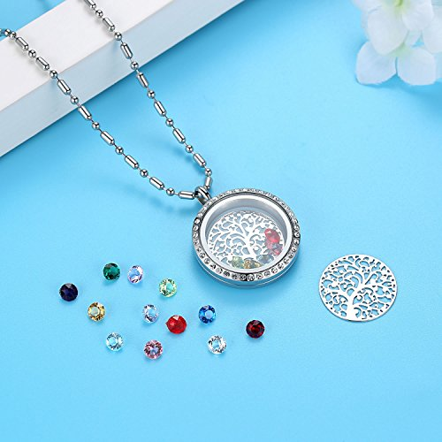Family Tree of Life Birthstone Necklace Jewelry - Gifts for Mom Floating Charm Living Memory Lockets Pendant, Mother's day gifts, Birthday Gifts, Christmas day gifts, Anniversary Thanksgiving gifts by Feilaiger (Image #3)