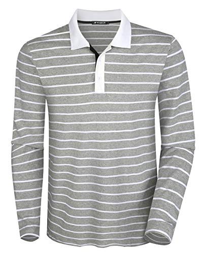 Musen Men Long Sleeve Polo Shirts Casual Cotton Classic Regular Fit Striped T-Shirts Grey XL ()