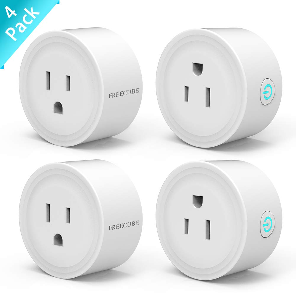 WiFi Plug Work with Echo/Google Home/IFTTT, FREECUBE Remote Control Smart Socket, Timer/no hub Required, 4 Pack (White)