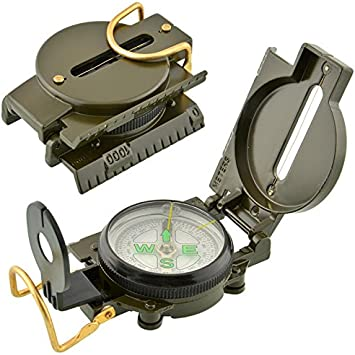 Portable Army Green Folding Lenses Compass Metal Water Resistant Handheld Style