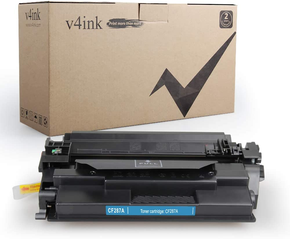 V4INK Compatible Toner Cartridge Replacement for HP 87A CF287A Toner for use in HP Laserjet Enterprise M506 M506n M506dn M506x, HP Pro M501n M501dn, MFP M527c M527dn M527f M527z Printer (Black)