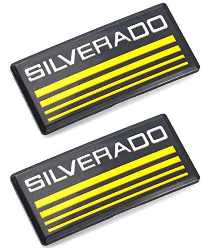 (2pcs Silverado Cab Emblem Badge Side Roof Pillar Decal Plate Replacement for Silverado Chevy 88-98 90 91 Suburban Tahoe C/K Series Blazer (Black/gold))