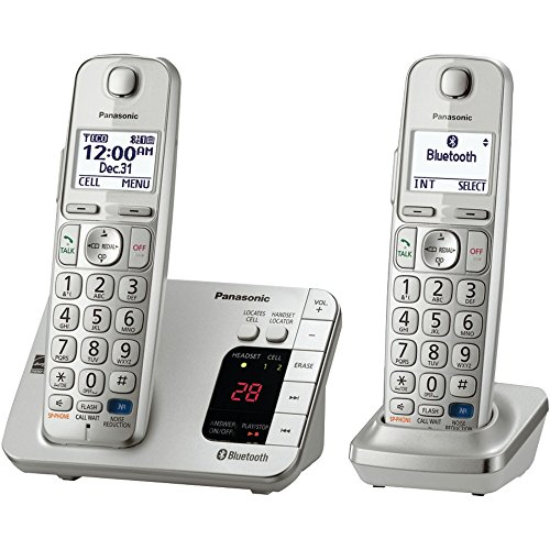 Panasonic KX-TGE262S Link2Cell Bluetooth Enabled Phone with Answering Machine 2 Cordless Handsets by Panasonic
