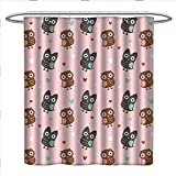 Shower Curtains with Fish on Them RenteriaDecor Nursery Shower Curtains Fabric Extra Long Love Owls with Mini Valentines Hearts Surrounding Them on a Rose Print Bathroom Accessories W72 x L84 Rose Brown Dried Rose
