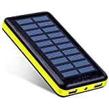 Antun Solar Charger 22400mAh High Capacity Solar Power Bank Dual USB Charging Port Power Indicator With LED Flashlight and Charge Protection(Yellow)